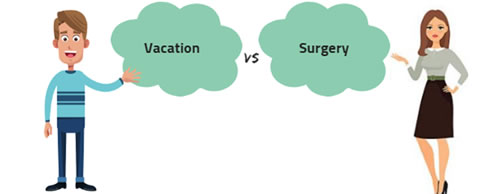vacation vs surgery